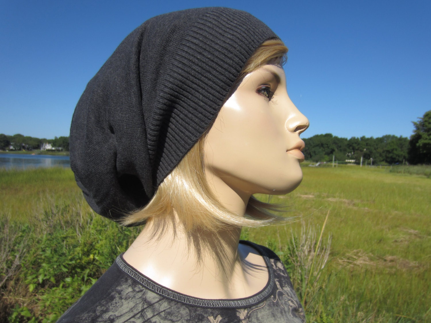 Women s Oversized Tams Hats Big Head Slouchy Beanies Combed Cotton  Lightweight Knit hat Charcoal Gray A1385 eae494d59b4