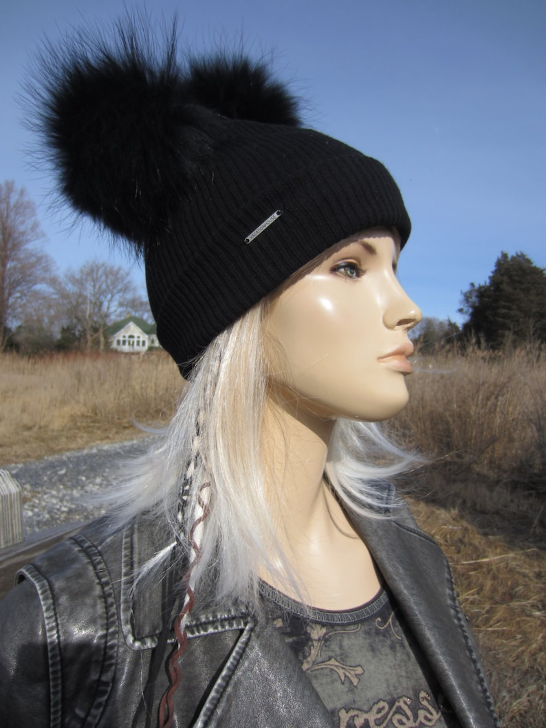 98538340331 2 Real Fur Pom Pom Bobble Hat Beanies Black Rib Knit Cotton