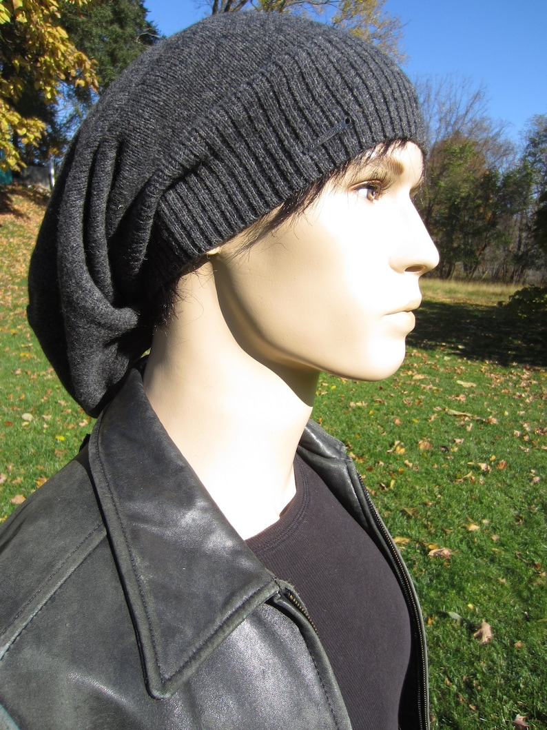 cafb04155532b Long Merino Wool Knit Men s Winter Hats Gray Slouchy