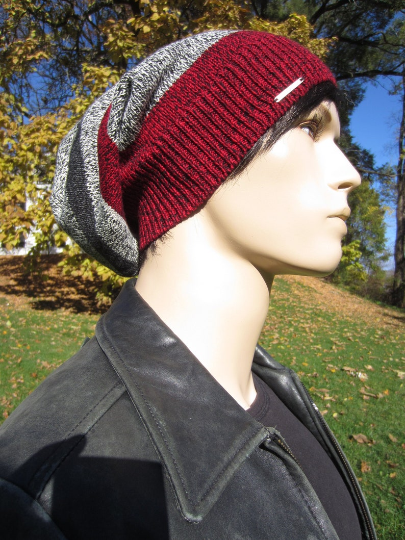 5f8bc42f Striped Tam Slouchy Beanie Men's Hats Black Gray & Red | Etsy