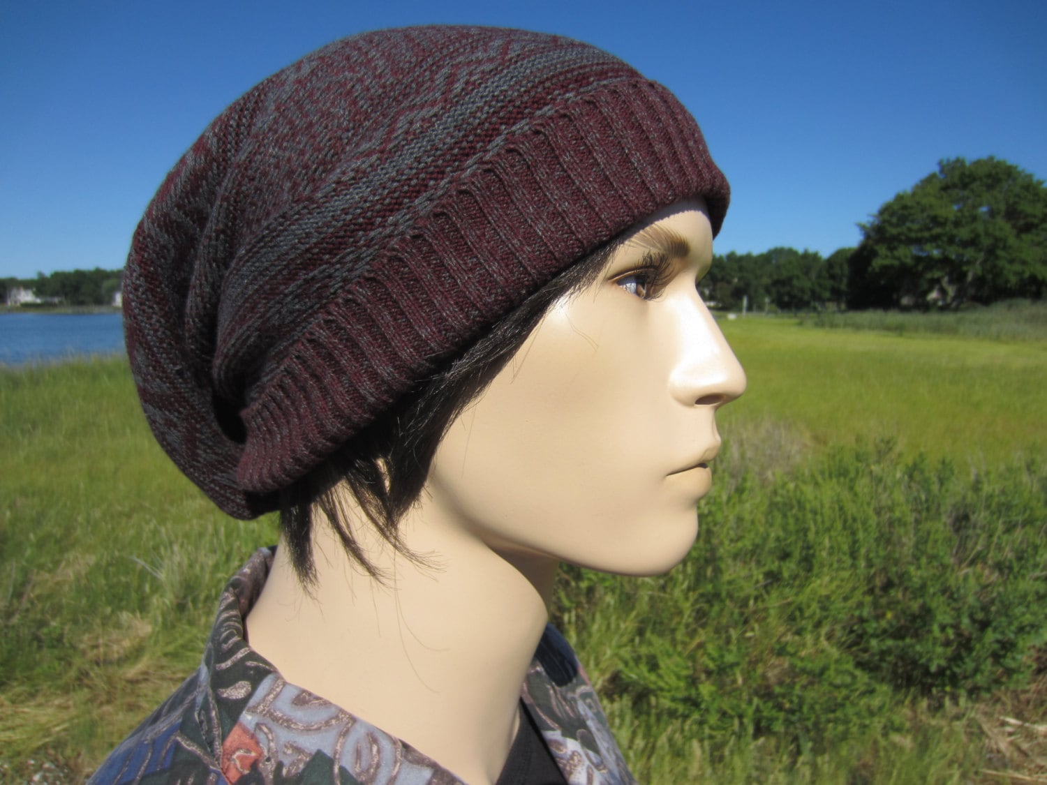 Big Slouchy Beanie Hat Fair Isle Knit Stocking Cap Burgundy   Gray Cotton  Oversized Baggy Tam for Men A1638 d71da654c93