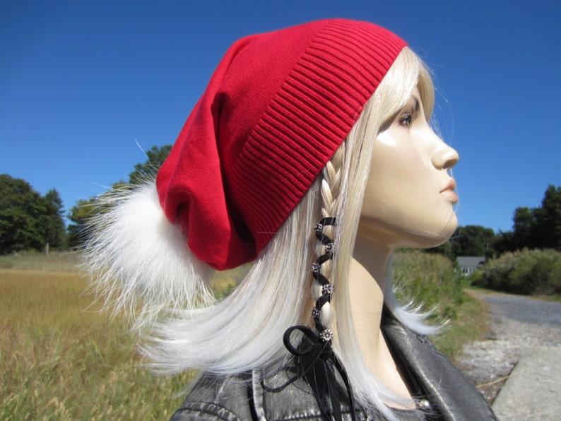 68542593fa5 Real Fur Santa Hat Fur Pom Pom Beanie Elf Stocking Cap Genuine