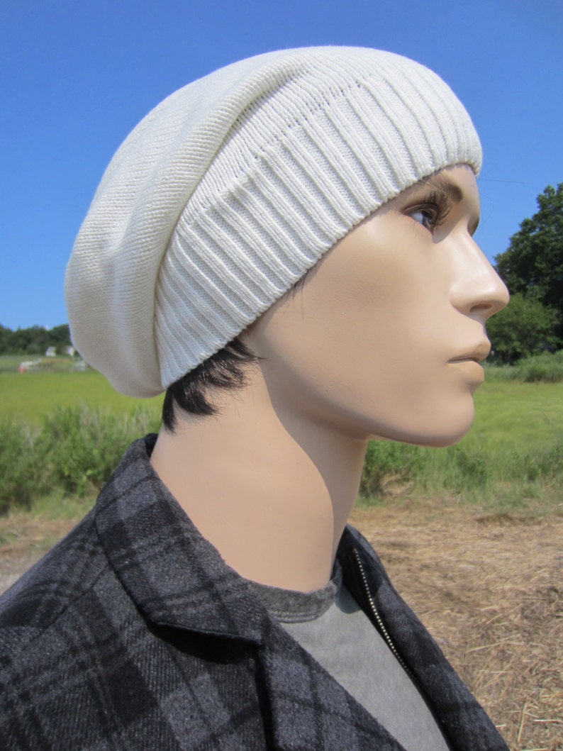 63e2a519a641ea Men's Slouchy Beanie Hat Winter White Thick Knit Ivory | Etsy