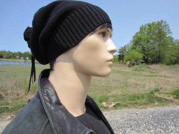 84a623ace8a Solid Black Beanie Men s Warm Winter Hat Slouchy Tam Thick