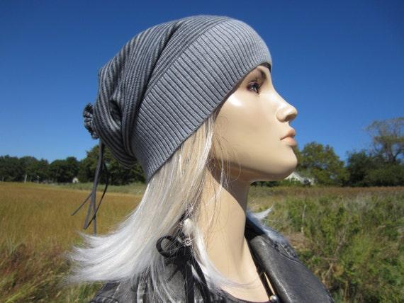 e4ae404276901 Merino Wool Slouchy Beanie Hat Womens Stripe Charcoal Gray