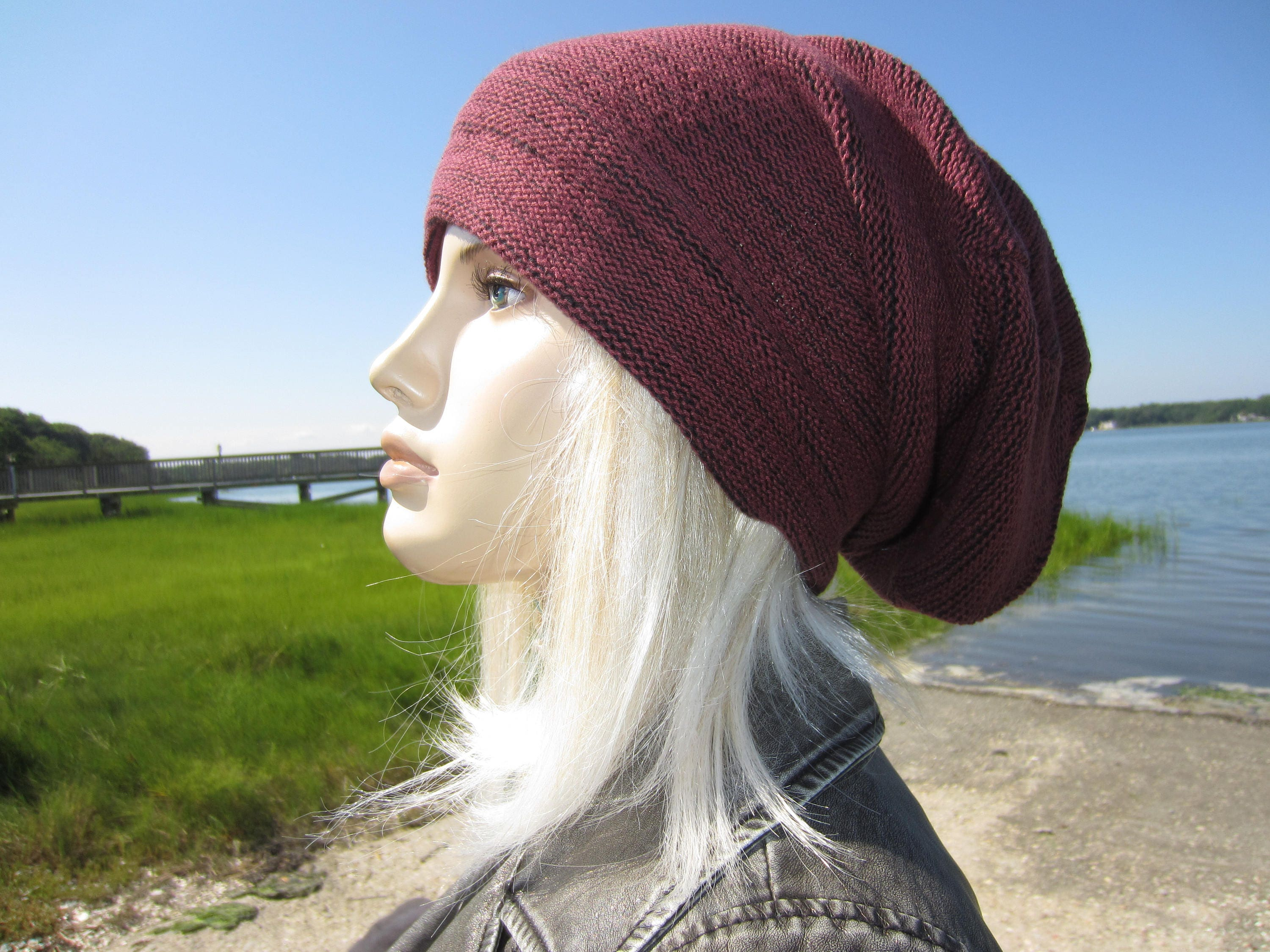e9a369191b3 BOHO Clothing Cloche Slouchy Beanie Womens Burgundy Knit Hat Black ...