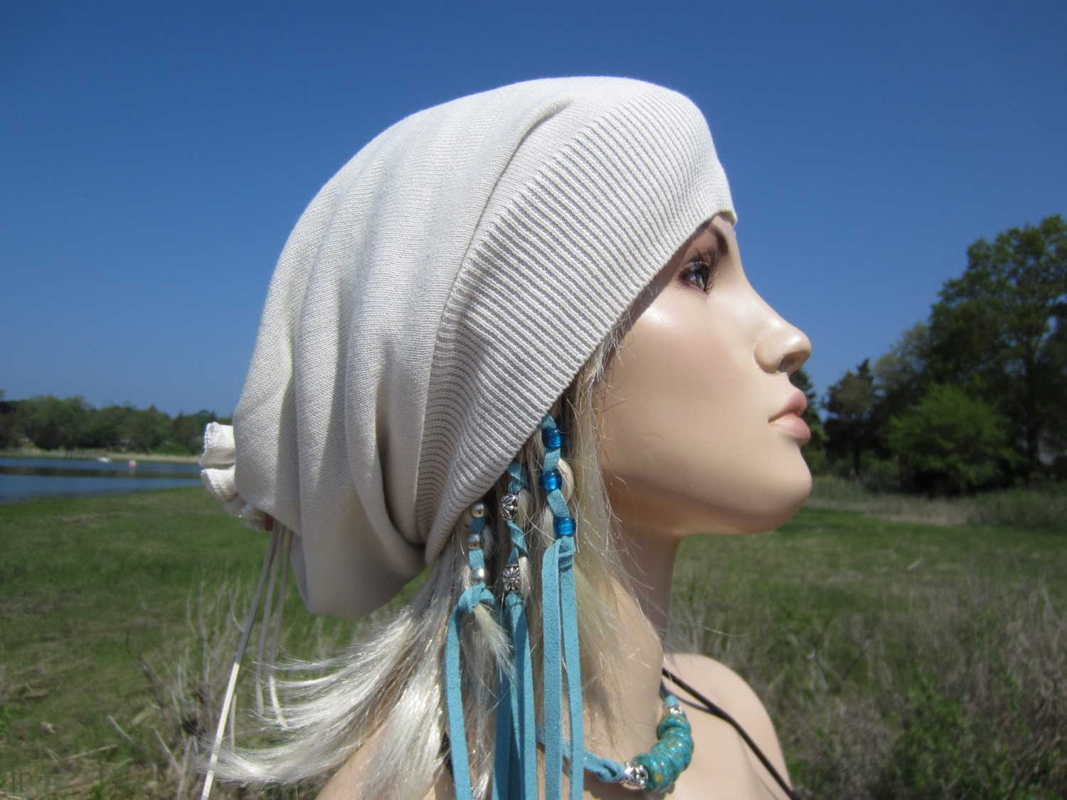 Lightweight Summer Slouchy Beanie Hat Long Back Tube Tam White  199125a4d68
