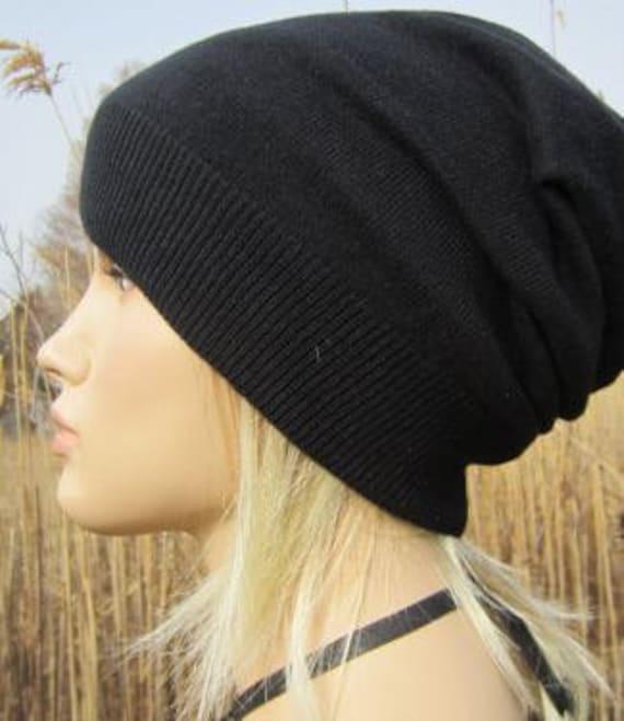 3d9027756e0c77 Cashmere Blend Unisex Slouchy Beanie Fine Black Hat A49 | Etsy