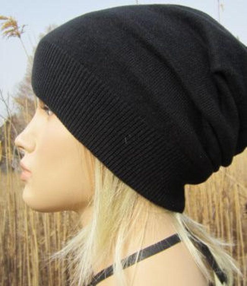 3fe57656010 Slouchy Hat Cashmere Beanie Womens Plain Basic Solid Black Hat