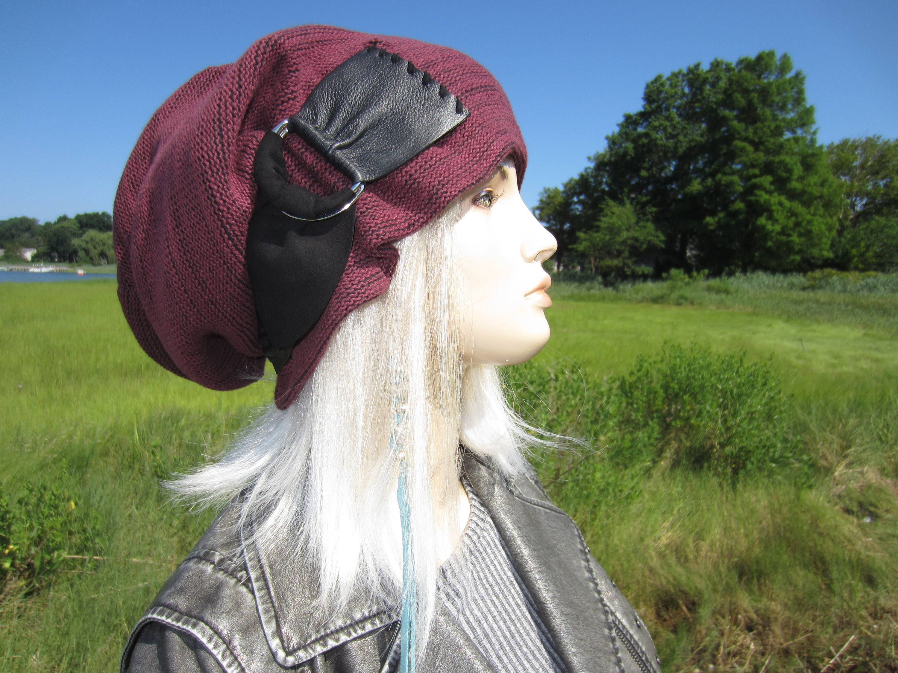 8406cf36ca4 BOHO Clothing Cloche Slouchy Beanie Womens Burgundy Knit Hat Black leather  trim w  Buckle Baggy Big Head Tam Hat A2072