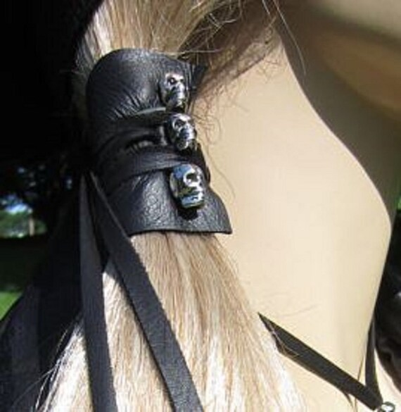 SKULL Hair Wrap Black Leather Ponytail Holder Hair Jewelry  90507bce9b1