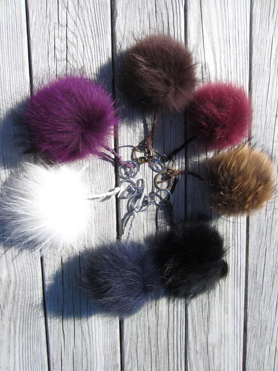 Fur Pom Pom Key Chain Black Real Fur Key Holder Women s  65d90d99cd