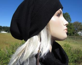 Womens Black Tams Hats Big Head Slouchy Beanies A1385