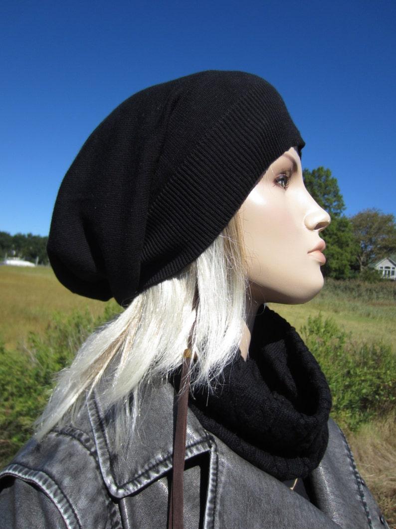 eee1caca8b352 Womens Black Tams Hats Big Head Slouchy Beanies A1385