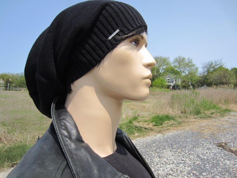 56c6ae55e Plain Black Beanie Men's Warm Winter Hat Cotton Slouchy Tam Thick Knit  Baggy Back Beanies A1707