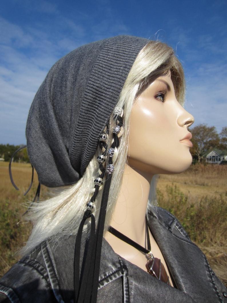 3ba87f7a6dea2 Gray Merino Wool Knit Hat Womens Slouchy Beanies Charcoal Grey