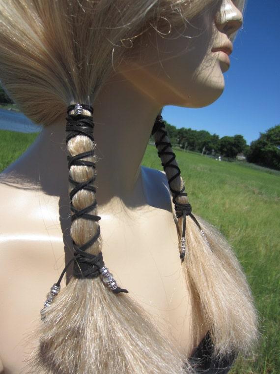 Beaded Hair Wraps Boho Hair Styles Black Leather Ties Etsy