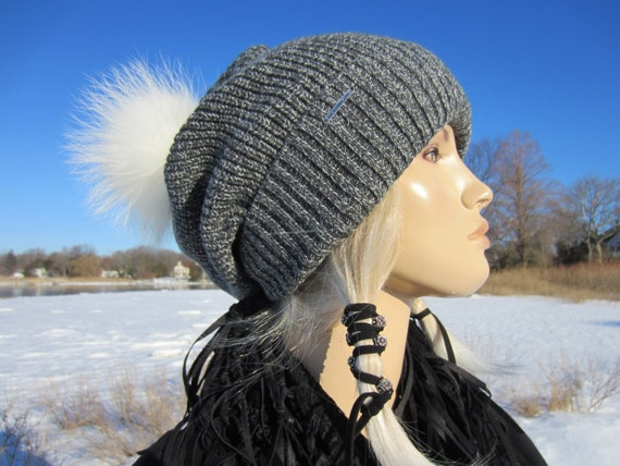 Fur Pom Pom Beanie Bobble Hat Oversized Slouchy Beanie Thick  7fb62fe5374