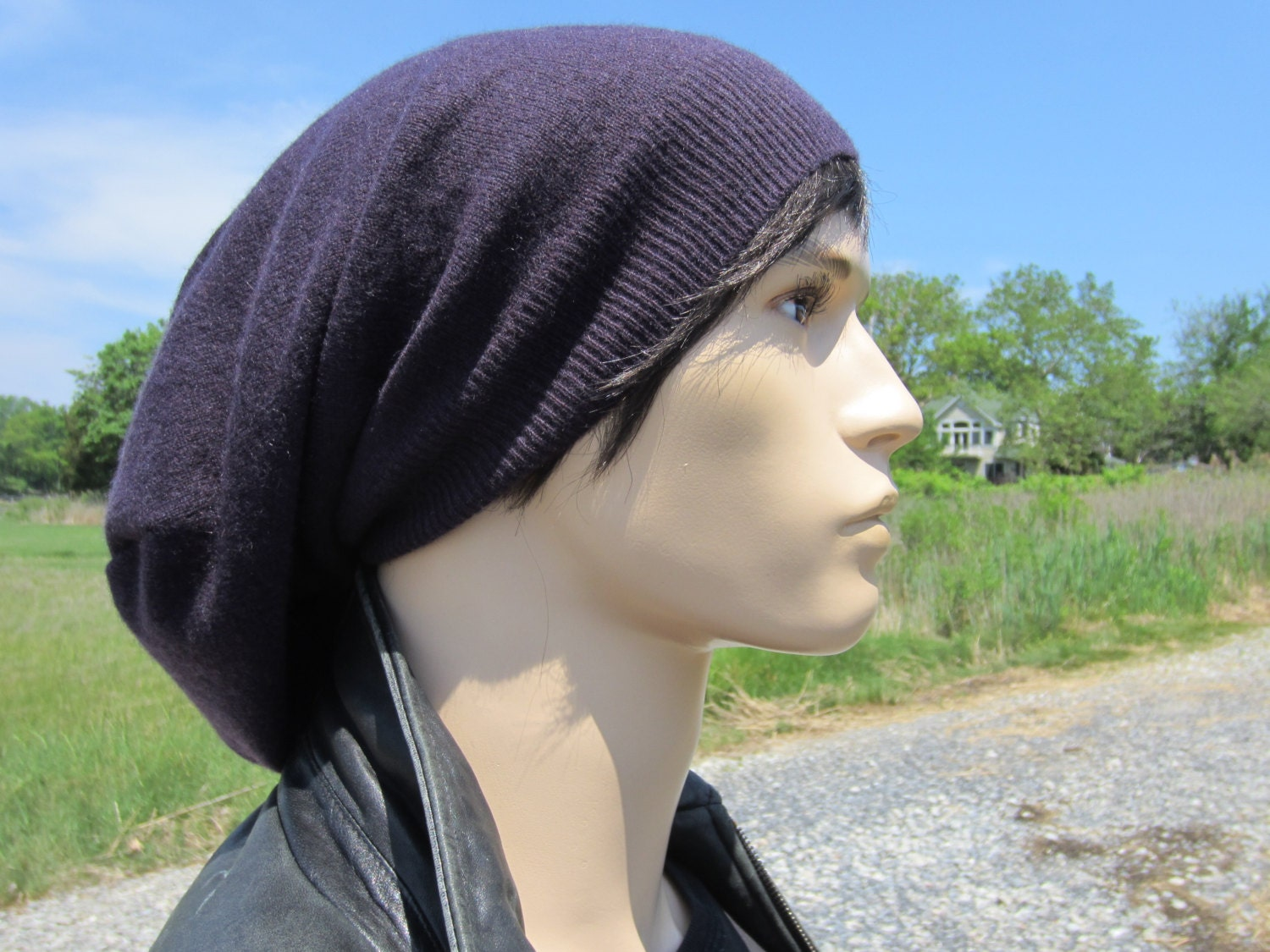 7c8e0e6f4669a8 Men's Cashmere Knit hats Slouch Tam Purple Extra Long 100% Pure Cashmere  Knit Slouchy Beanie Hipster Clothing A1717