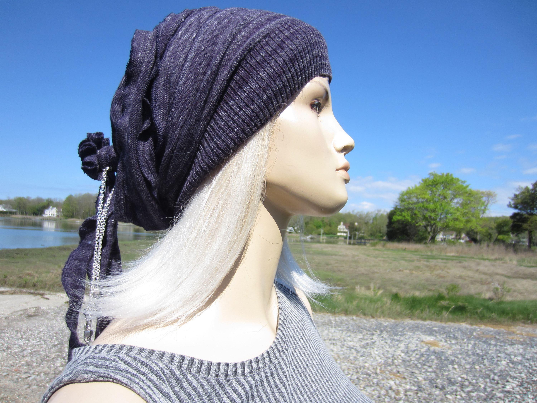 1c2e580c9e6 Purple Knit Hat Bohemian Clothing Slouchy Beanie Women s Gypsy Slouch Tam  Cotton Rose Rag Tie Back w Hat hair Jewelry A1667