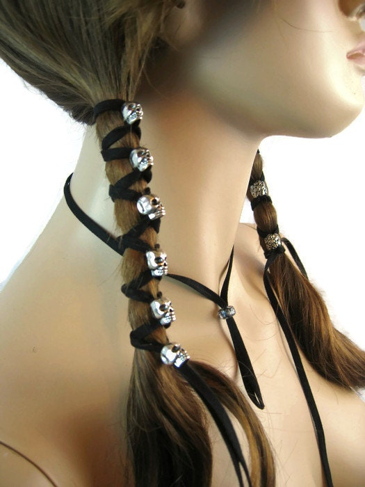 Skull Hair Jewelry Black Leather Hair Ties Ponytail Holder  e776cdfad0d
