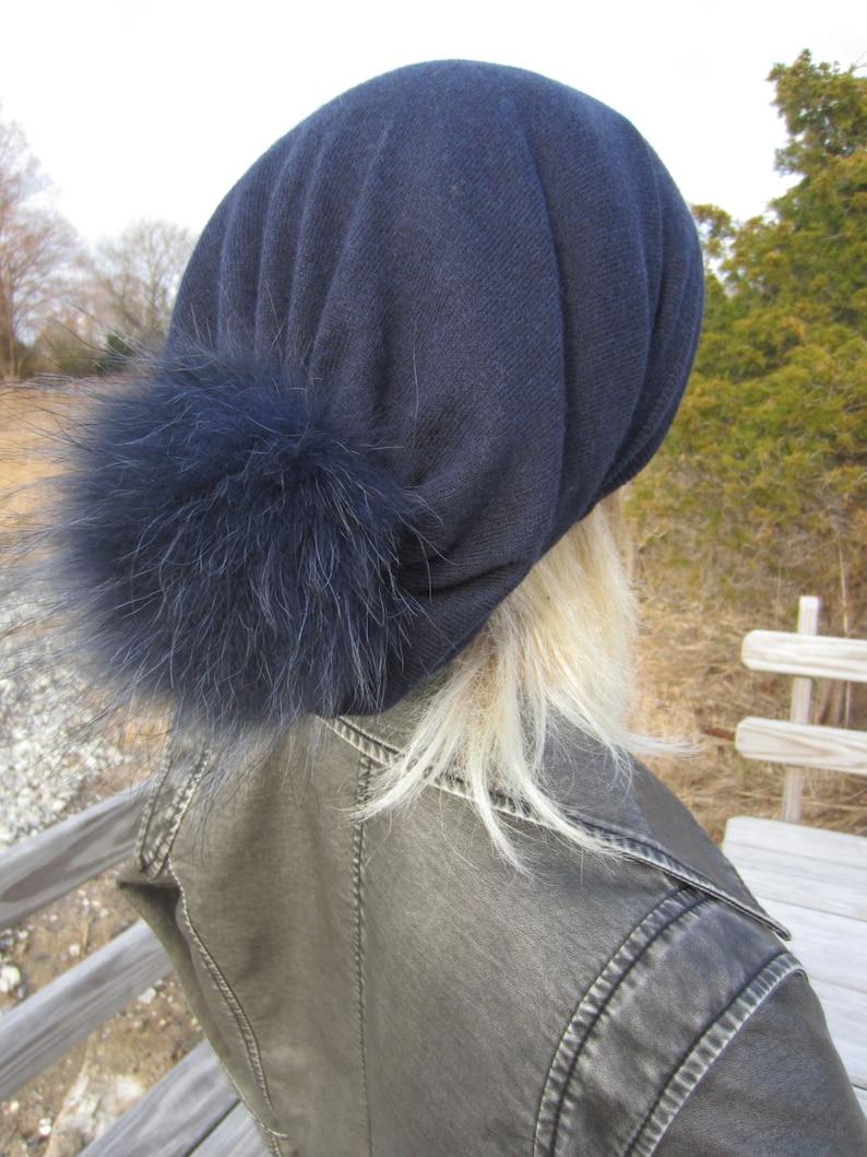 1850bbb5784 Navy Blue Cashmere Hat Fur Pom Pom Beanie Slouchy Beanies