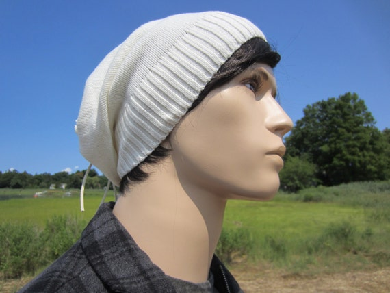 438f0d522e46d2 Tie Back Slouch Beanie Thick Knit Slouchy Beanie Hat Ivory Men's Leather  Warm Winter White Hats
