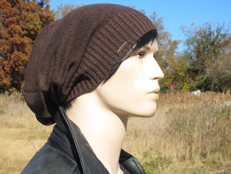 c97bc398199 Oversized Tams for Men VACATIONHOUSE Big Head Cotton Knit Slouchy Beanie  Hats Brown   Black Heather A1776