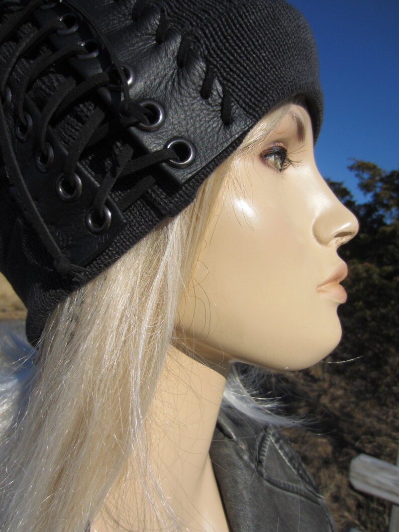 Edgy Bohemian Clothing Slouchy Beanie Black Leather Corset Lace Ties Acid Washed Cotton Knit Hat Musician Rocker Men /& Women A1348