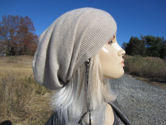 97911862 ... Cashmere Slouch Tam Slouchy Beanie Hat Woman's Oeatmeal Tan Knit Beige  100% Pure Cashmere A1717