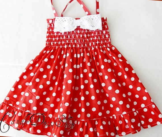 Red And White Polka Dot Dress For Little Girls Polka Dot Etsy