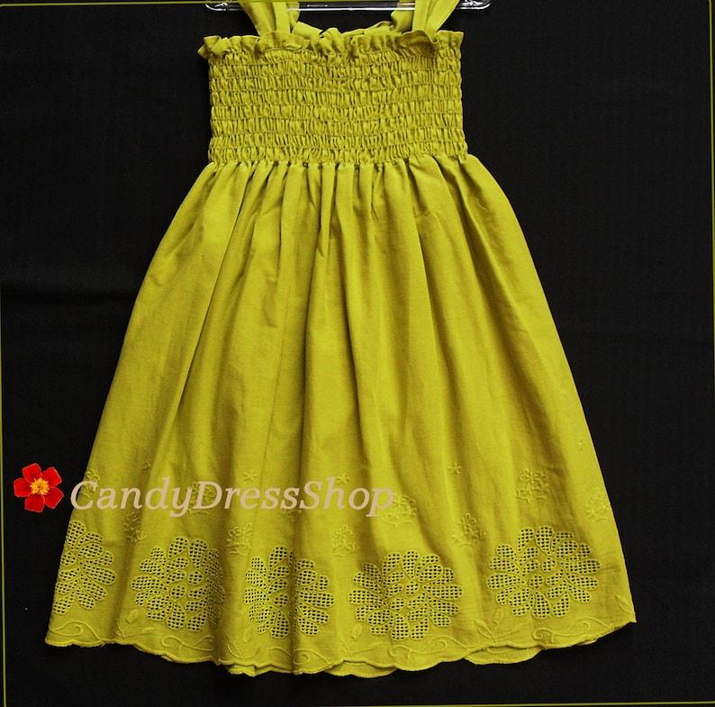 02624a5ff6f Robe de fille de fleur vert olive beach mariage coton