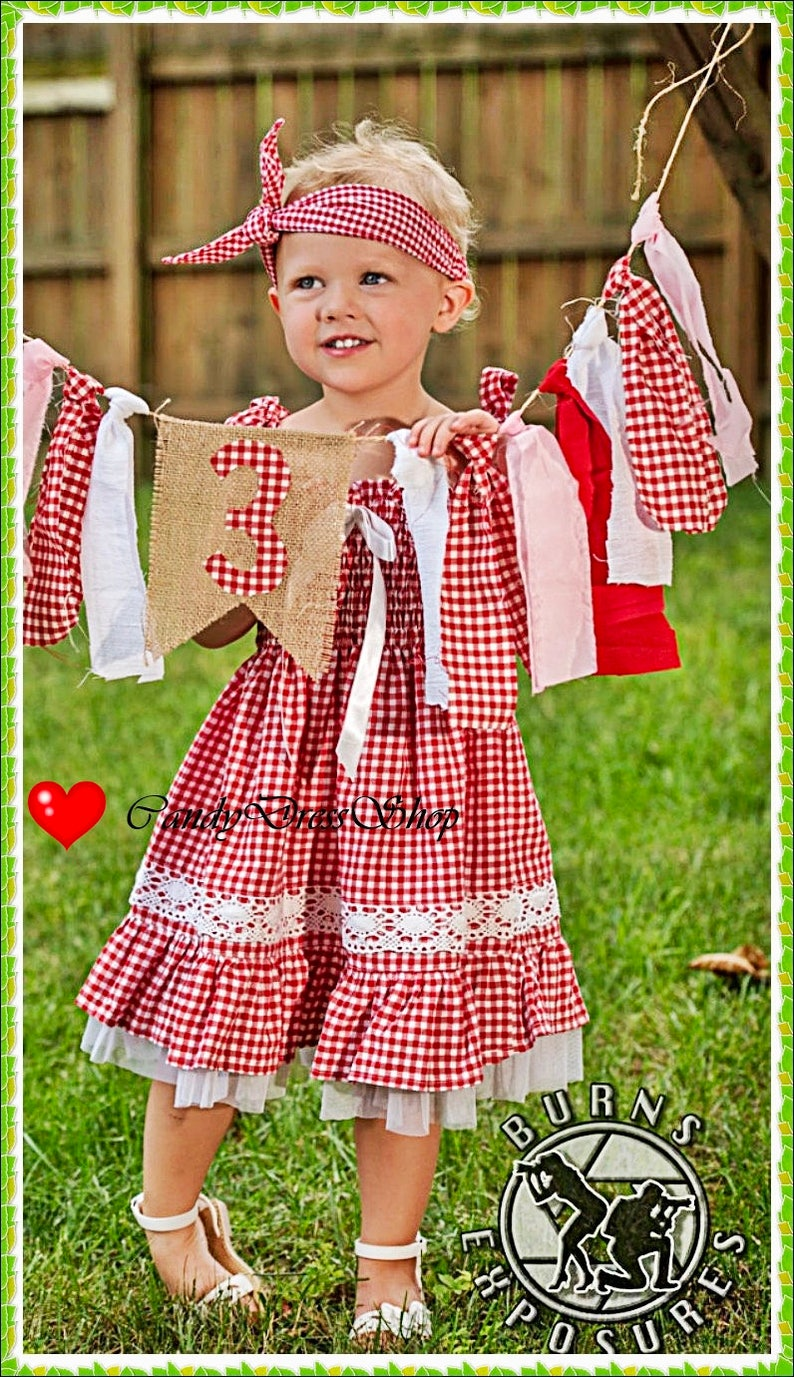 5eaa10e5a657 Red and white checkered dress for girls Gingham baby dress