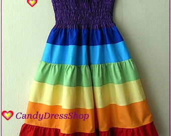 Girls Rainbow dress, Rainbow Tiered Dress, Girls Maxi dress, Rainbow party dress, (Available in sizes 12-18m.to 9 years) From CandydressShop