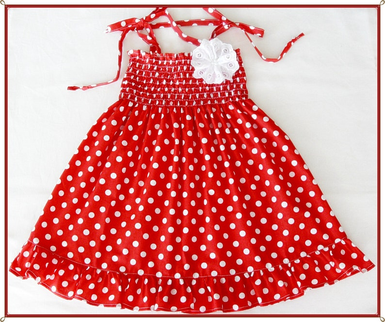 Red And White Polka Dot Dress For Girls Red White Frilly Etsy