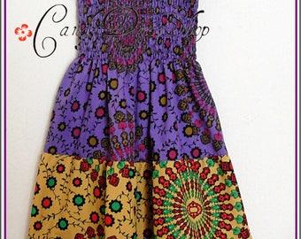Girls Maxi Dress, Little Girls Long Dress, African maxi dress, Tiered maxi dress, Purple-yellow-green (Sizes 2,3,4,5,6,7.8,9,10 years)