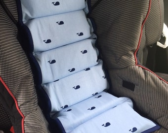 Ready To Ship Light And Navy Blue Whale Car Seat Cooler