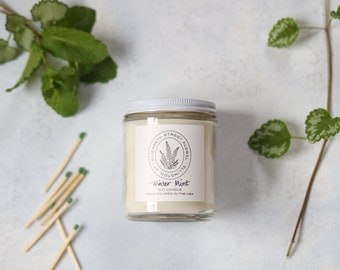 Winter Mint Soy Candle - 8 oz glass jar with lid