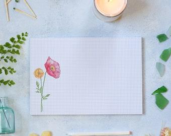 Graph Paper Notepad Planner - Poppies Garden Planner