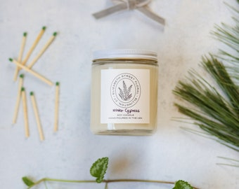 Winter Cypress Soy Candle - 8 oz Glass Jar Candle
