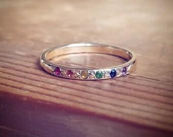 Rainbow Wedding Ring Etsy