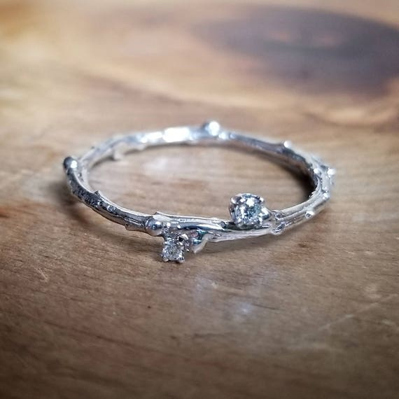 White Gold Ring, Promise Ring For Her, Simple Promise Ring, Delicate Diamond Ring, Diamond Engagement Ring, Dainty Twig Ring, Gift For Her by Etsy