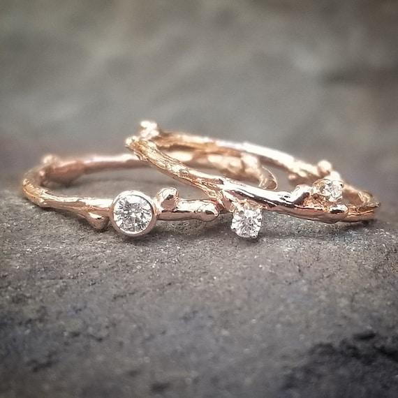 Diamond Wedding Ring Set Rose Gold Bridal Sets Wedding Etsy