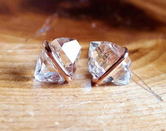 Herkimer Diamond Stud Earrings Raw Crystal Stud Earrings 14K Rose Gold Studs April Birthstone Jewelry Rose Gold Womens Girlfriend Gift Wife