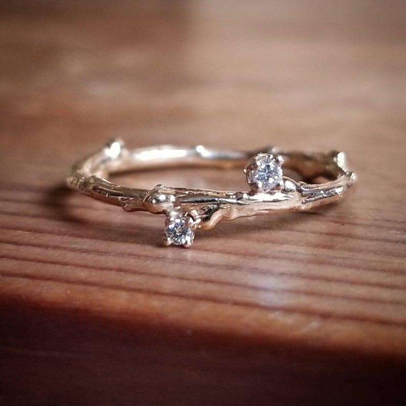 3fc8f8d378ce0 Diamond Stacking Ring, Diamond Stacking Rings, Diamond Stackable Rings,  Rings for Women, Gift, Diamond Ring, Gold Twig Ring, Diamond Band