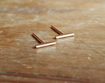 14K Gold Bar Earrings Line Earrings Gold Bar Earrings Gold Bar Earring Best Friend Gift Staple Earrings Gold Bar Stud Earrings 14K Bar Studs