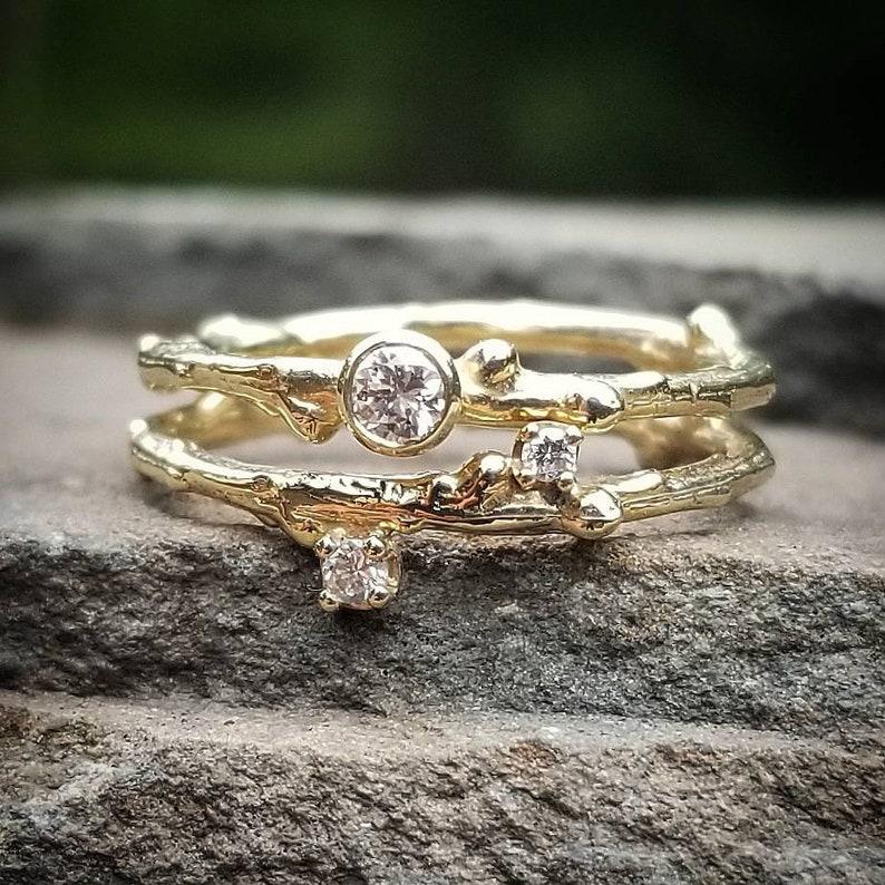 Diamond Wedding Ring Set Diamond Bridal Ring Set Bridal Etsy