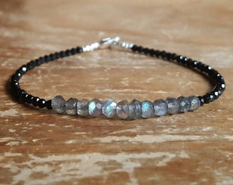Labradorite Bracelet for Women Black Spinel Bracelet Bead Beaded Bracelets for Women Labradorite Jewelry Womens Gift Gifts for Girlfriend