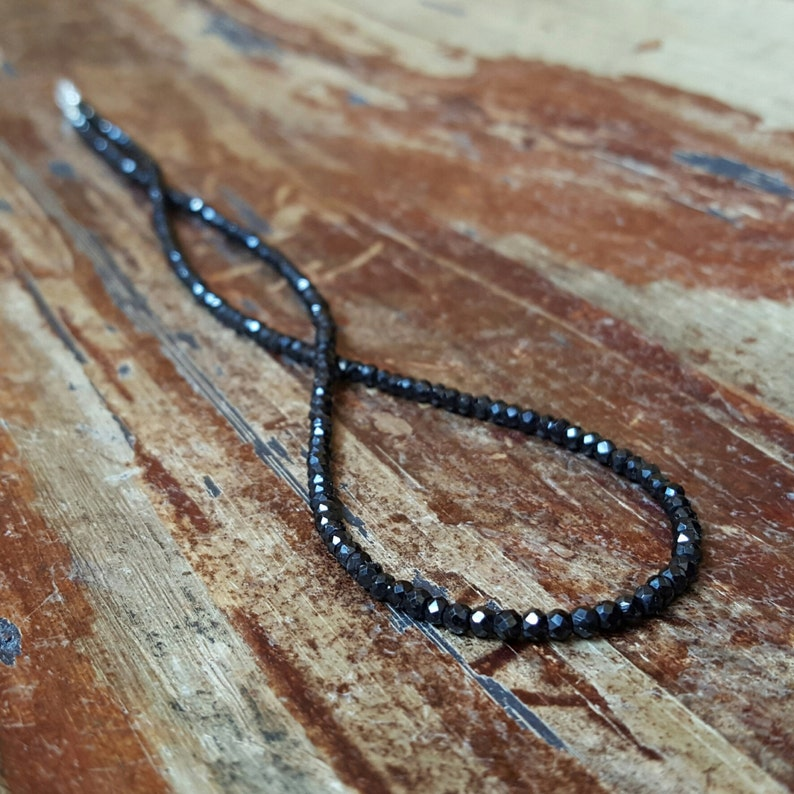 Black Spinel Necklace Beaded Necklaces Chain 20 inch Gemstone image 0