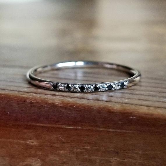 Black Diamond Ring White Gold Wedding Band Womens Wedding Band Etsy